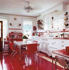 Kitchen , Homey Retro Kitchen Design Style : Retro Kitchen Design Style With White Cabinets And Red Free Standing Range And Cafe Curtains And Fand With Light And Red Ceramic Floor With Dinner Table