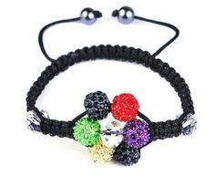 Latest Fashion Multi Color Crystal Black Cord Macrame Beads Disco Ball Shamballa Style Adjustable Bracelet