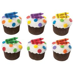 Dress up your party cupcakes with themed picks and other accessories from Shindigz that will turn your dessert into a delicious part of the overall decor. Crayon Birthday Parties, Birthday Treats, Art Birthday, Cupcake Icing, Cupcake Picks, Mini Tortillas, Crayon Cake, Cold Cake, Themed Cupcakes