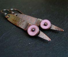 Copper Earrings with Pink Enamel Disc £19.00