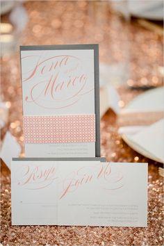 calligraphy white and peach wedding invite #weddinginvites #weddingstationery #weddingchicks http://www.weddingchicks.com/2014/02/19/glamorous-rose-gold-wedding/