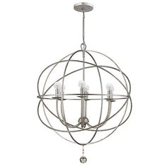 """Orb Chandelier - Small: 23 1/2""""H X 23"""" Diameter with 7"""" Diam Canopy, 8""""L Rod & 6'L Chain - $449"""