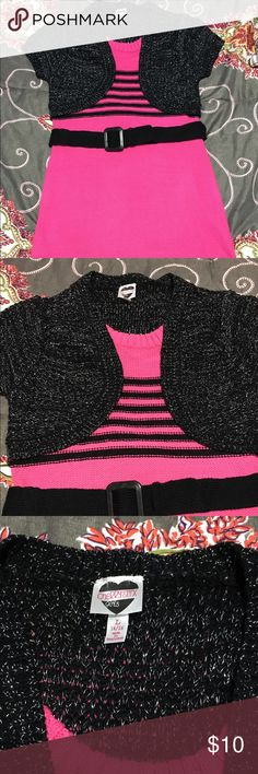 Cute girls sweater dress Pink and black girls sweater dress. Great with some black tights. New!!! Got it for my niece and she didn't like it. Cherry Styx Dresses Midi