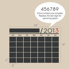 pinterest wall chalkboard   Chalkboard Wall Calendar Vinyl Wall Decals by SimpleShapes