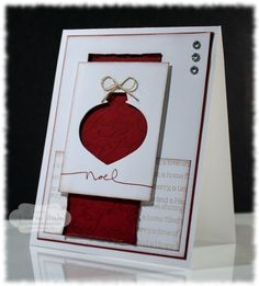 Ornament punch. Cherry Cobbler and Crumb cake. Note sponging on edges, simple sentiment, linen thread and 3 rhinestones