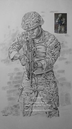 Custom made Soldier drawing Portraits Remembrance Sunday Soldier Drawing, Army Drawing, Pet Portraits, Drawing Portraits, Liquitex Acrylic Paint, Pet Sympathy Cards, Military Drawings, Remembrance Sunday, Rainbow Bridge