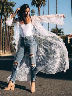 omen's Summer Lace Crochet Bathing Suit Bikini Swimwear Cover Up Beach Dress White Kimono Outfit, White Lace Kimono, Bikini Luxe, Bikini Swimwear, Crochet Bathing Suits, One Piece Swimwear, Look Fashion, Fashion Styles, Fashion Tips