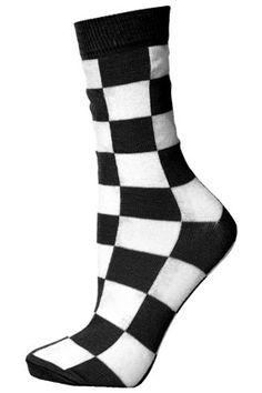 Black Checkerboard Socks