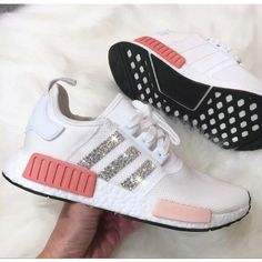 Over Half Off New Arrival 2017 June Swarovski Blinged Adidas Nmd Runner Black White Athletic Shoes Swarovski Crystal Shoes 2017