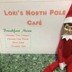 2015 - Day 12: Loki opened up a pop-up cafe in our kitchen #OurElfOnTheShelf #ElfOnTheShelf #NorthPoleBreakfast