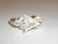 Trillion Cut Diamond VS2 H 2 915cts 18K White Gold Engagement Ring   eBay