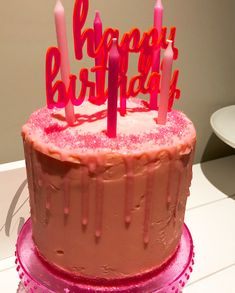Pink on pink on pink! Happy Birthday Cake for the Pink Lovers! Pink Happy Birthday, Breakfast Cake, Lovers, Desserts, Food, Tailgate Desserts, Dessert, Postres, Deserts
