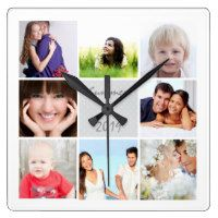 """Custom photo gift giving is just a few easy clicks away ... at Zazzle! Simply upload your personal photograph(s) and change the text template fields or add a message to create a distinctively personal gift that the recipient is sure to love ... especially because it was made by you! This personalized family photos wall clock is part of the """"Create your own personal photo gifts and cards!"""" collection at Zazzle ... click to learn more"""