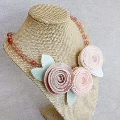 Rose Trio Necklace in Shades of Pink