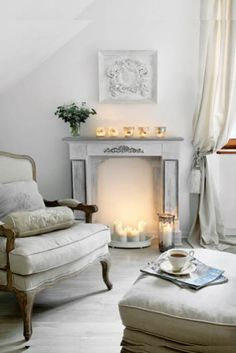 Love the faux fireplace!  Super cute idea!