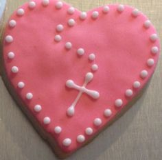 Small Religious Heart Cookie with cross by Mama's Custom Cookies. $28.00, via Etsy.