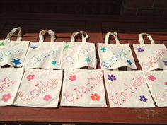 Create customized fabric bags that will be used many times past the wedding day. These do not have to be expensive either.   www.thenannybrigade.com **Top Notch Event Care For Your Youngest Guests**
