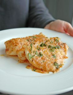 Lemon Parmesan Cod with Garlic Butter. Serve with bread to dip into the luscious garlic butter.