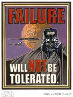 """Darth Vader - Image of """"Failure Will Not Be Tolerated"""" by Lawrence Noble- Paper (13"""" x 19"""")"""