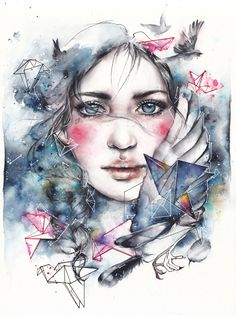 """""""Bird's Queen""""  Watercolor on paper www.etsy.com/ru/shop/oksanadimitrenko"""