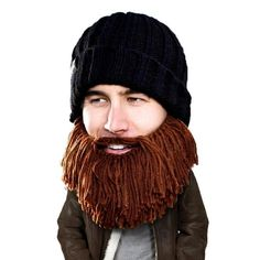 Beard Hat Beanie - Funny Vagabond Knit Beard Head