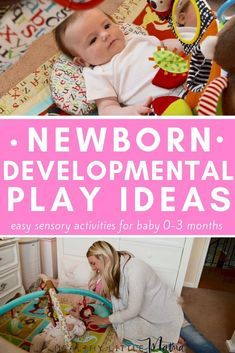NEWBORN DEVELOPMENTAL PLAY IDEAS: What do I do with a newborn baby during the day? A compiled a list of newborn developmental play ideas for new moms during wake time with baby. A list of 12 sensory activities for babies months. Mama Baby, Baby Your Baby, Newborn Activities, Sensory Activities, Activities For Babies, Nursery Activities, Learning Activities, Baby Sensory Play, Baby Play