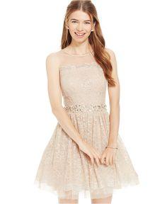 2767ad2c0 City Studios Juniors' Illusion Lace Fit & Flare Dress & Reviews - Dresses -  Juniors - Macy's