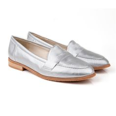 Kate round toe flat vegan loafer court shoe made from silver synthetic non leather 100% Vegan, vegetarian and cruelty-free.