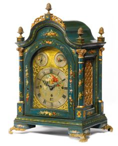 A GEORGE III PARCEL-GILT GREEN-JAPANNED AND POLYCHROME DECORATED MUSICAL TABLE CLOCK, Robert Ward London, Circa 1780 - Sotheby's