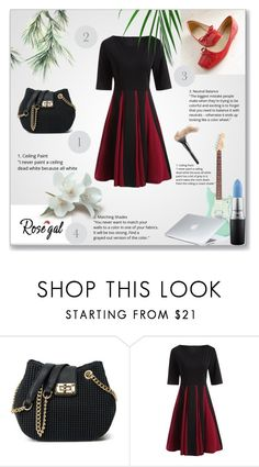 """""""Color Block Fit and Flare Pleated Dress"""" by nermina-okanovic ❤ liked on Polyvore featuring MAC Cosmetics, Dyson, vintage and rosegal"""