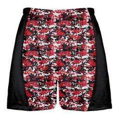 Boys Lacrosse Shorts LightningWear Red Cardinal Red Polka Dot Shorts Mens Lacrosse Short