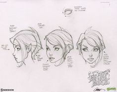 "One more of the drawings used to create ""Tinkerbell"", the second statue in the J. Scott Campbell's Fairytale Fantasies line from This one focusing on the head, face and hair. J. Scott Campbell, Scott Cambell, Comic Drawing, Drawing Sketches, Drawings, Drawing Faces, Sketching, Wie Zeichnet Man Manga, Comic Face"
