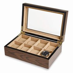 Tempered glass lid, holds eight watches, velvet lining, wood composite, high gloss coffee finish. Bracelet Box, Bracelet Watch, Jewelry Case, Jewelry Watches, Engraved Plates, Jewelry Display Box, Leather Watch Box, Military Discounts, Watch Case