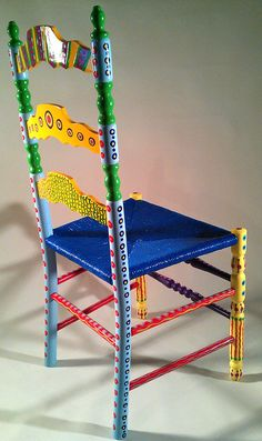 Hand Painted Furniture Colorful Crazy Ladder Back Chair