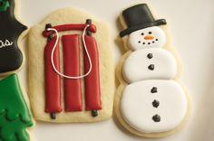www.SoonerSugar.com, christmas cookies, snowmen cookies, sled cookies, merry christmas cookies, tree cookies
