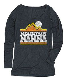 This Heather Blue 'Mountain Mamma' Long-Sleeved Tee is perfect! #zulilyfinds