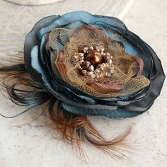 Kismet - Layered Flower Brooch, Pin, Accessory or Hair Clip in Teal and Bronze