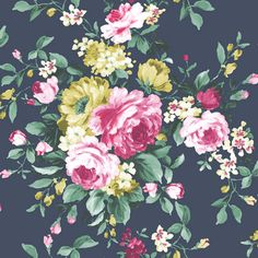 Emeline by Clarke & Clarke - Ebony - Wallpaper : Wallpaper Direct Floral Print Wallpaper, Scenic Wallpaper, Textured Wallpaper, Wallpaper Roll, Photo Wallpaper, Floral Prints, Floral Wallpapers, Beautiful Wallpaper, Flower Wallpaper