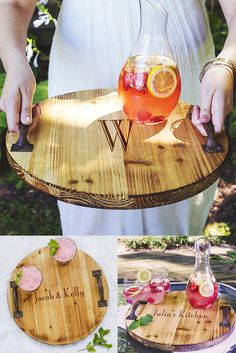 For the maid or matron of honor, bridesmaid, mom, sister, friend or anyone who loves to entertain, this rustic finish wood serving tray personalized with either a large single initial or custom line of print is a useful kitchen decor gift idea sure to bring joy in the home for special occasions and every day. Also a great Christmas or bridal shower gift, this beverage and food serving tray can be ordered at http://myweddingreceptionideas.com/personalized-rustic-wood-serving-tray-with-handles...