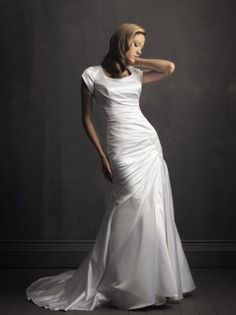 Fit & Flare Square Neck Short Sleeves Satin Wedding Dress-wf0008,  $242.95