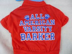 Dog Shirt All American Varsity Barker Red White & Blue Med New #Greenbrier