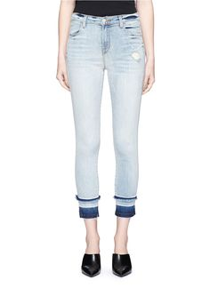 J BRAND 'Alana' let-out cuff cropped skinny denim pants. #jbrand #cloth #pants