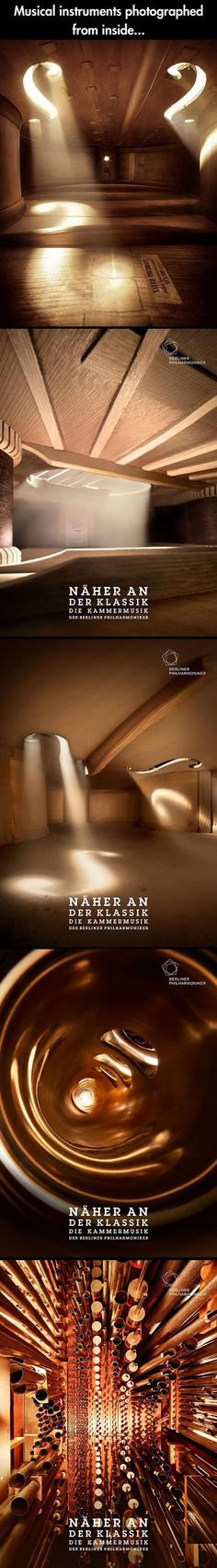 Musical instruments photographet from inside... just like big rooms that together make a beautiful house!!!