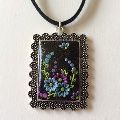 Aqua, Purple & Blues Wildflower Polymer Applique Clay Pendant £7.99