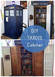 This TARDIS bookshelf has working lights and a soundboard – so the windows and the top light flicker on/off, as the familiar TARDIS engine noise whirs.