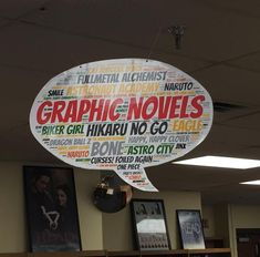 Graphic Novels library genre sign - word cloud from tagul.com School Library Decor, School Library Displays, Library Themes, Middle School Libraries, Teen Library, Elementary Library, Library Books, Library Ideas, Library Design