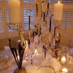 Winter Tablescape with Swarovski Crystal Ornament Centerpiece Christmas Table Settings, Christmas Tablescapes, Christmas Decorations, Christmas Centerpieces, Swarovski Snowflake, Swarovski Ornaments, Madison Square Garden, Waterford Ornaments, Snowflake Centerpieces