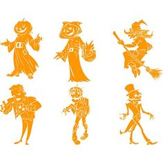 "Chic Walls Removable Pack of 6 Halloween Zombie Scarecrow Witch Skeleton Frankenstein Wall Glass Window Door Decoration Art Vinyl Decal Sticker Kids Room Living Room Kitchen Orange 23"" tall ** Read more reviews of the product by visiting the link on the image. (This is an affiliate link and I receive a commission for the sales)"