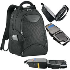 """Computer backpack made of 2064 Dobby Nylon, Neoprene and 600d polycanvas. Designated laptop-only section unfolds to lay flat on the X-ray belt. Side entry access to laptop compartment holds most 15"""" laptops. Lower pocket with hard EVA shell to protect small electronics. Zippered main compartment with interior file dividers and accessory pockets. Top zippered valuables pocket, side quickaccess pocket, front pocket with organization, two side zippered media pocket."""