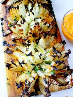 Blossom Onions Grilled and Planked with Red Pepper Aioli - Proud Italian Cook